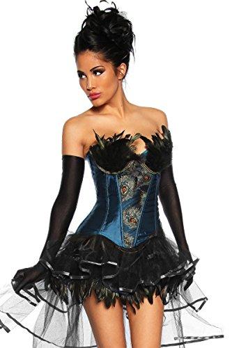 Burlesque sexy Corsage mit Federn bestzt inkl. langen schwarzen Satin-Handschuhen (L, (Burlesque Outfit)
