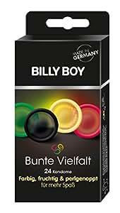 Billy Boy Bunte Vielfalt Kondome, Sortiment aus farbigen, perlgenoppten, farbig-aromatisierten und extra feuchten Kondomen, 24 Kondome