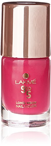Lakme 9 to 5 Long Wear Nail Color, Pink Blast, 9 ml