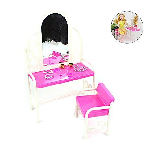 2ST / Pack Barbie Frisiertisch Stuhl Set Möbel Zubehör für Barbie Doll House Kinder Spielzeug-Haus-Möbel-Kit -