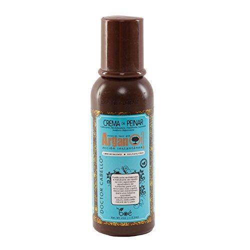 Doctor Cabello balsamo leave in all'olio di argan - balsamo leave in all'olio di argan vergine bio con olio di ricino, proteine della seta idrolizzate e ceramidi - ammorbidisce, idrata e protegge i capelli contro i danni del calore 113.5 grammi