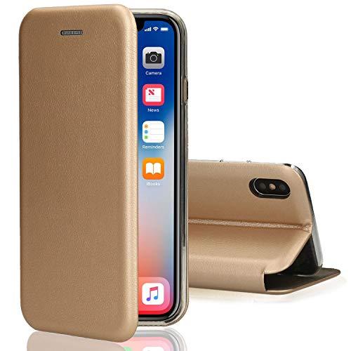 [kompatibel für iPhone X / XS / 10] Flip-Case Hülle [Deluxe Leder Case] Handyhülle mit Magnetverschluss und Standfunktion Cover Gold