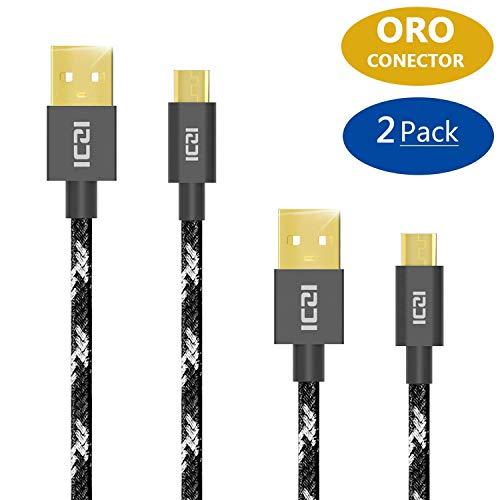 Câble micro USB, Iczi USB 2.0vers micro câble USB 2.0(lot de 21m + 0.3m) pour Android, Samsung, HTC, Sony, Blackberry et bien plus encore
