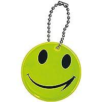 5 x Sicherheitsanhänger mit Gesicht für Schulranzen /Tasche / Rucksack - reflektierend - signalgelb