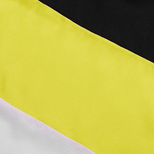 TWIFER Damen Farbblock Chiffon Kurzarm Bluse Shirts Tunika Sommer Tops (L, Gelb) - 3