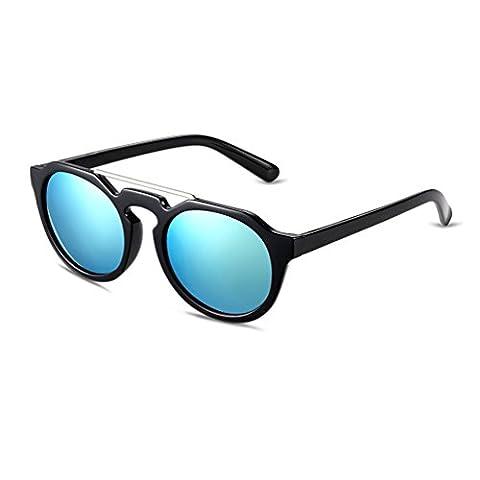 Hmilydyk rétro Lunettes de soleil Revêtement Voyage vintage rond surdimensionné réfléchissant Miroir UV400pour femme Eyewear, Gold Lens