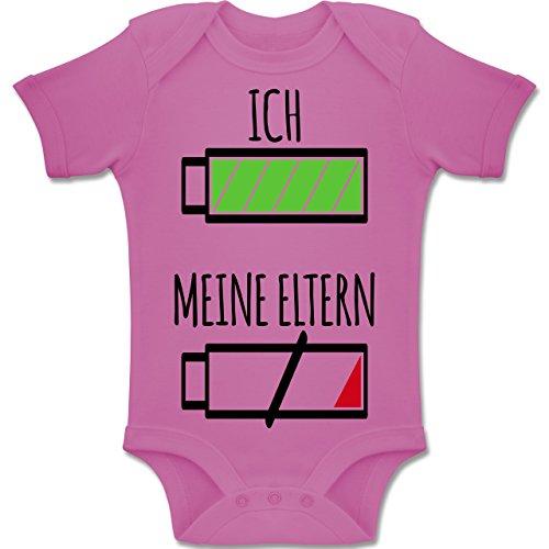 Shirtracer Strampler Motive - Ich und Meine Eltern Batterie - 1-3 Monate - Pink - BZ10 - Baby Body Kurzarm Jungen Mädchen