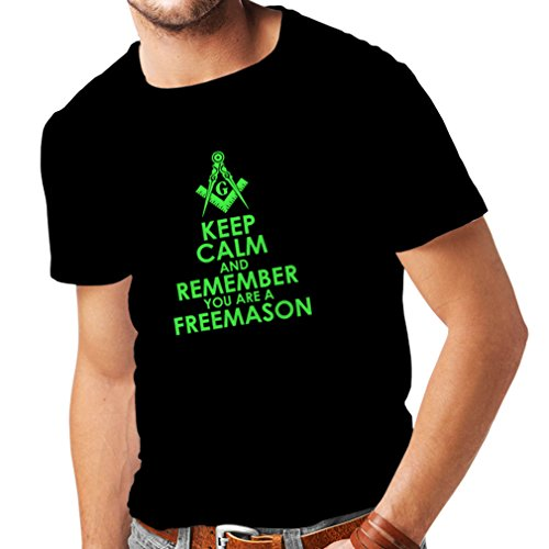 Männer T-Shirt Denken Sie daran, DASS Sie EIN Freimaurer sind - Masonic Winkel und Zirkel (Large Schwarz Grün) (Assassin's Creed Moderne Assassine Kostüm)