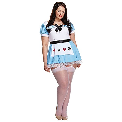 Alice Plus Size Fancy Dress Kostüm (Blau/Weiß) (Plus Size Alice Im Wunderland Halloween Kostüme)