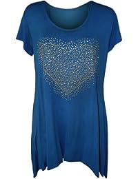 Womens Plus Size Heart Stud Hanky Hem Ladies Short Sleeve Long Top - Sizes 14-28