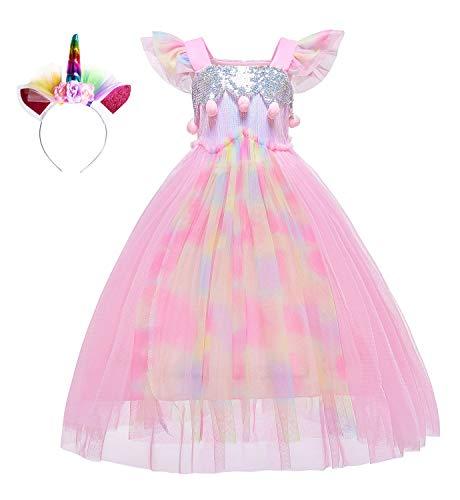 Kostüm Of Parade Fantasy Festival - Le SSara Einhorn Pailletten Kleid für Mädchen Kinder Geburtstag Party Einhorn Kostüm Outfit mit Stirnband (120, D57-Pink)