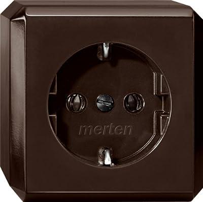 Merten 275017 SCHUKO-Steckdose, dunkelbrasil, AUFPUTZ von Merten auf Lampenhans.de