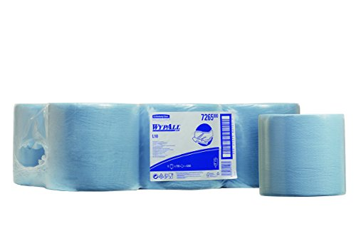 WYPALL L10 Extra Airflex Centre Feed Wipers (product code 7265) 700 x blue, 1 ply sheets per roll (Pack contains 6 rolls)