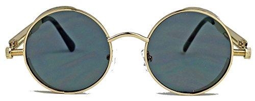 Runde Blogger Sonnenbrille oversized Damen Herren Nostalgie flat lens ST85 (Schwarz / clear lens) f6KY0x22rK