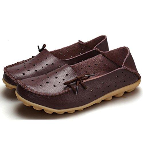 Vogstyle Donna Nuova Scarpe Stringate Basse Casual Comfort Pantofole Mocassini Caffè