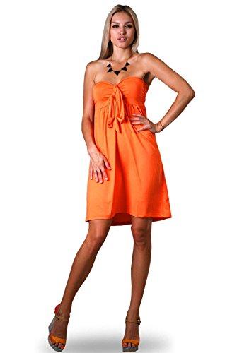 Damen Angela Bandeau Rohr Knie Lang Sommer, Urlaubs Kleid Orange