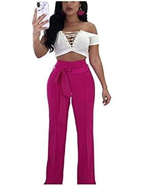 SYGoodBUY Pantalones de Mujer de Cintura Alta de Gran Tamaño, Pantalones Elegantes, Largo, Fluido, Trabajo, Poste...