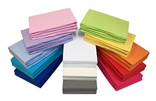 2er-Set Jersey Baby/Kinder-Spannbettlaken Spannbetttuch 60x120 - 70x140 cm aus 100% Baumwolle in vielen Farben (Hellblau) (Bettwäsche-set Für Ein Kinderbett)