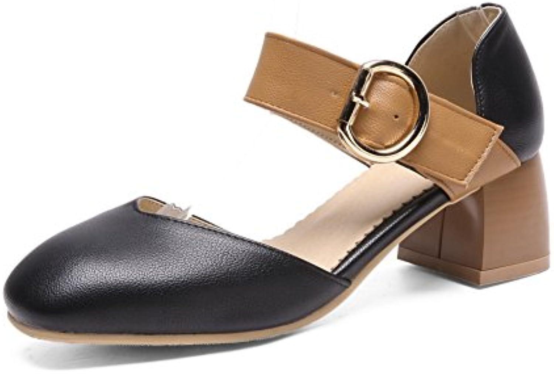 HIGHXE Mujeres Señoras Tacones Altos Una Palabra Hebilla Zapatos De Bailar Calzado Zapatos De Boda Banquete De... -