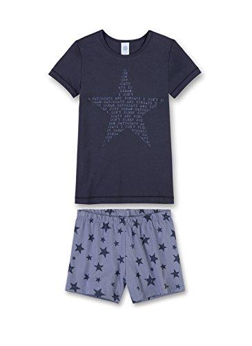 Ensemble de pyjamas fille Sanetta court, pyjama courtes filles à manches courtes, 140-176 - Bleu Sanetta