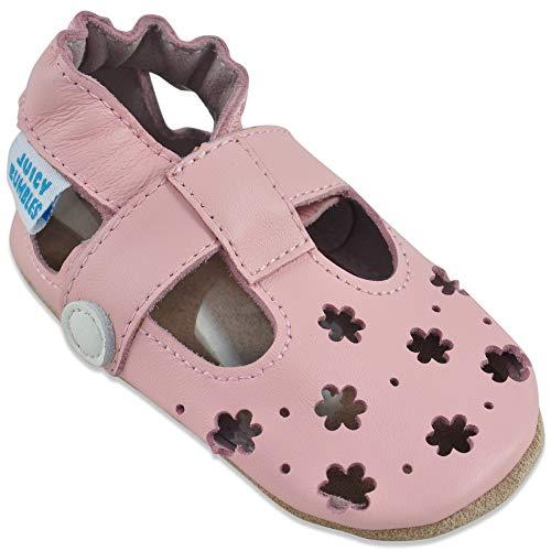 Sandali Bambina Primi Passi - Scarpe Neonata Estive - Scarpe Bambina in Morbida Pelle - Scarpine Neonato - Fiori Rosa - 12-18 Mesi