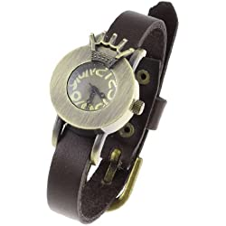Coffee Color Faux Leather Wristband Crown Decor Round Dial Case Watch for Ladies