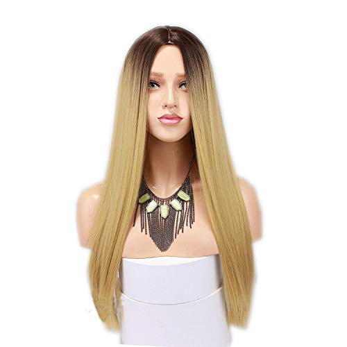 Bobopai Synthetic Long Straight Ombre Wig Two Tones #4 Rooted #27 Ombre Heat Resistant Cheap Middle Part Wig 130% High Density for Women (#27 Sraight) -