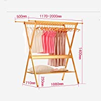 Folding Anti-rust Floor Folding Drying Rack, Clothes Drying Rack Adjustable Hanging Stainless Steel Laundry Dryer Space-saving Laundry Rack
