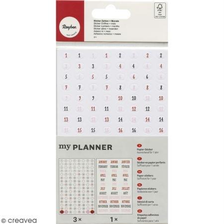 Rayher Hobby RAYHER Sticker Zahlen + Monate, farbig, 4 - Blatt Klammern Auf Auf Sie Schreiben