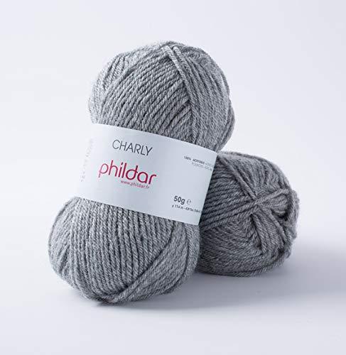 Phildar Laine Charly - Couleur Gris Flanelle - 100% Acrylique - pelote de laine pas cher - Laine et tricot Philda