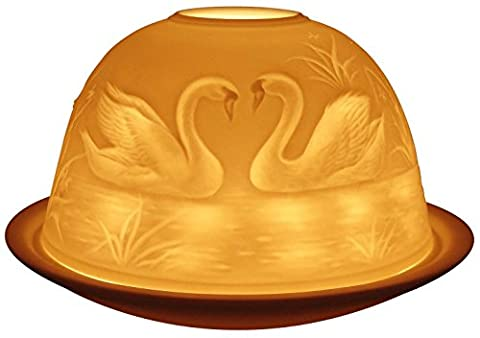 Light-Glow Swans Lithophane Dome Tealight Candle Holder by Online Kitchenware