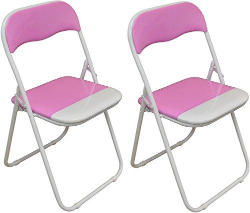 Klappstuhl - gepolstert - Rosa/Weiß - 2 Stück