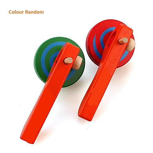FunnyGoo Holz Kreisel Peg-Top Spielzeug mit Schnur und Griff für Kinder Kind, kann sehr lange Zeit dauern, zwei Stücke, Farbe zufällig