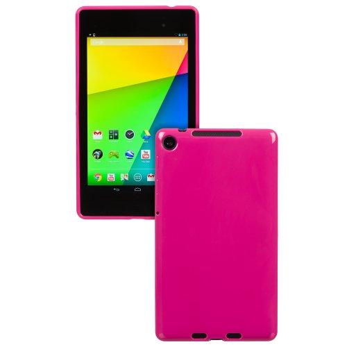 Invero® Google Nexus 7 2nd Gen II 2013 Model TPU Silikon Tasche Hülle Schutzhülle mit LCD displayschutzfolie (Rosa / Pink) (Playstation 3 2nd Gen)