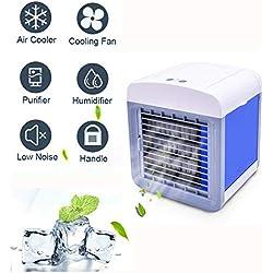 Climatiseur Portable, Mini Climatiseur Mobile, Refroidisseur d'air Portable - Rafraichisseur d'air Et Ventilateur, Climatiseur Humidificateur Purificateur 3 en 1 (Blanc)