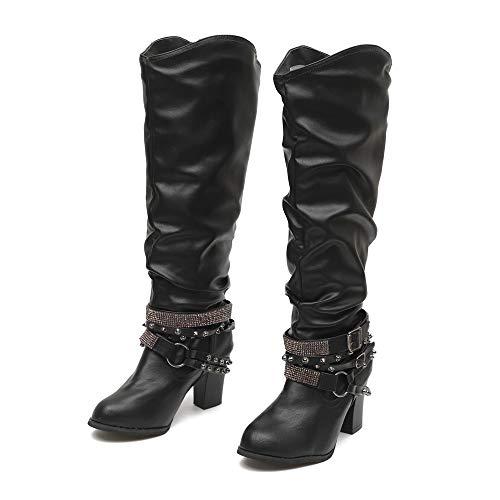 Yazidan Mode Knöchel Stiefel Hoher Absatz Schuhe Retro Glänzend Nieten Stiefel Lange Frau Damen...
