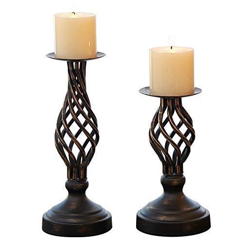 Hohl Kerzenhalter Set of 2, Home Decor Säule Kerzen Ständer, rustikal Verziert Halter für Kamin, Wohnzimmer Oder Esstisch -