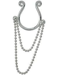 Brustwarzen Clip Schmuck zum klemmen ohne Piercing, Brustschmuck mit 2 Kettchen aus 925 Sterling Silber, Fake Piercing