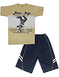 Kid's Care Printed Cotton T-Shirt and Half Pant Combo Set for Boys(8007)