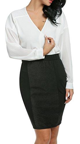 Damen Chiffon zweiteiliger Karriereanzug tiefer V-Ausschnitt Langärmeliger Oberteil und knielanges Kleid mit elastischer Taile Bleistift Design und rückseitigenreißverschluss - 2