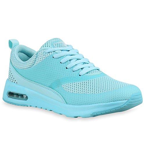Damen Herren Sport Runners Lauf Sneakers Neon Schuhe 142363 Türkis Berkley 40 Flandell