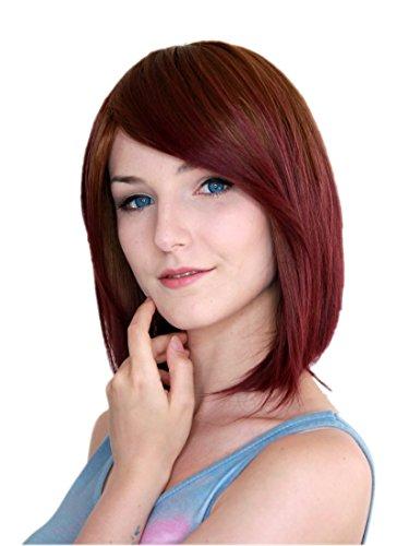 Prettyland Tie Dye glatt mittellang Perücke gefärbt farbverlauf bunt Ombre braun-rot ()