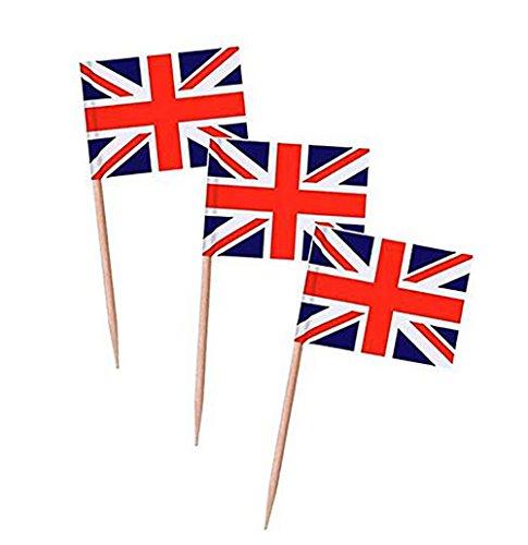 aggen Party Cupcake Picker Cocktail Sticks Abendessen Kuchendekoration Flaggen Zahnstocher Flagge Union Jack Design ()