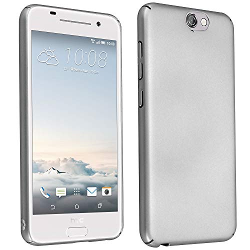 Cadorabo Hülle für HTC One A9 - Hülle in Metall Silber – Hardcase Handyhülle im Matt Metal Design - Schutzhülle Bumper Back Case Cover