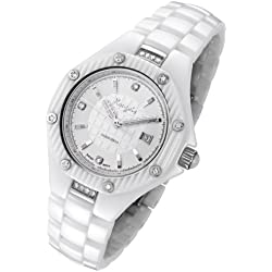 Rougois Women's White High Tech Ceramic Watch with Genuine Diamonds