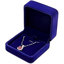 JUNGEN® Estuche de terciopelo de collar, Organizador de Joyerías, Joyería Caja de almacenamiento Boda Regalo,7*7*4 CM (Azul)