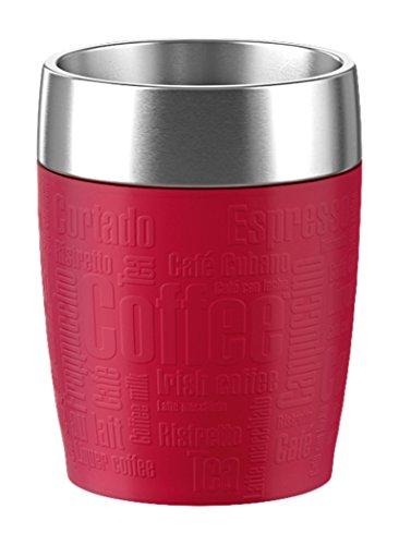 Emsa 515681 Isolierbecher Travel cup, 0,20 L, spülmaschinenfest, schwappdichter Trink-Dreh-Verschluss, rot