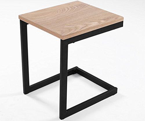 ComptoirXL Table d'appoint Design Industriel Newark 30 cm chêne et Noir