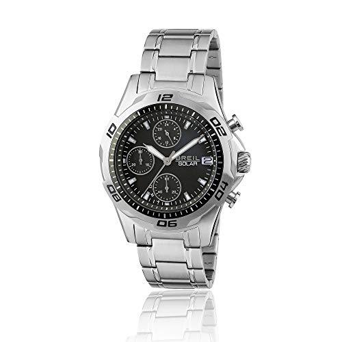 Orologio breil uomo speedway quadrante mono-colore nero movimento chrono solare e bracciale acciaio tw1768