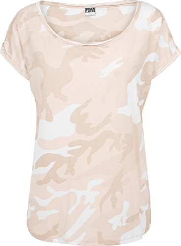 Urban Classics Damen T-Shirt Ladies Camo Back Shaped Tee, Mehrfarbig (Rose Camo 01218), Medium (T-shirt Urban Camouflage)
